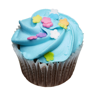 two-bite Blue Icing Cupcake