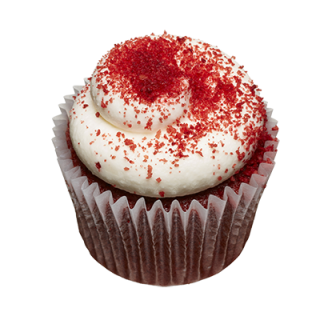 two-bite Red Velvet Cupcake