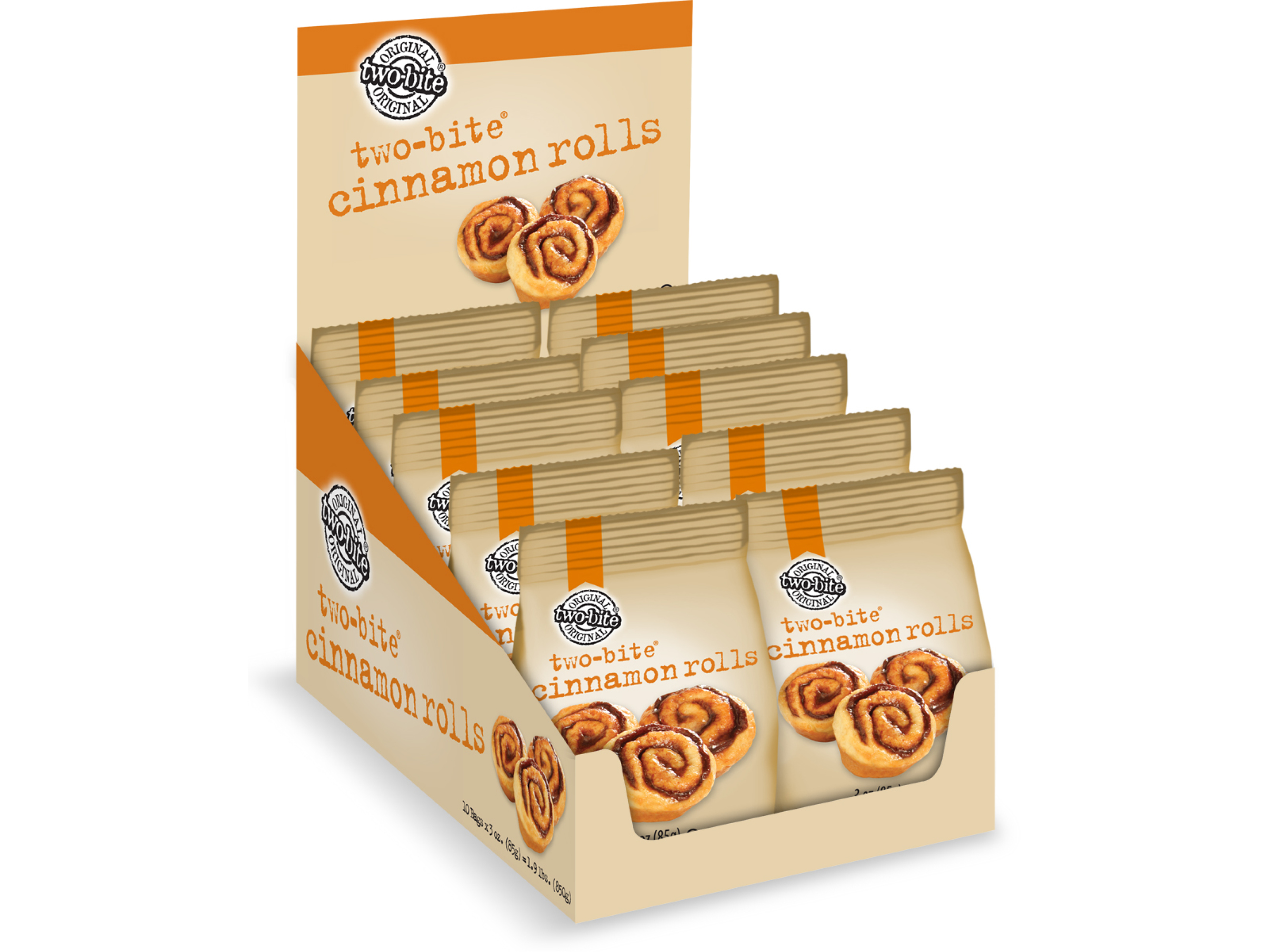 two-bite Cinnamon Rolls Packaging