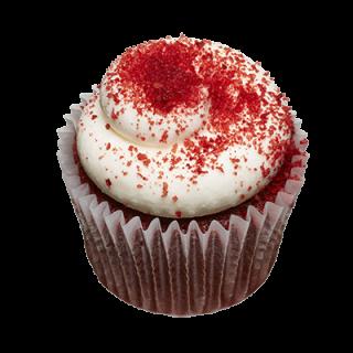 two-bite Red Velvet Cupcake