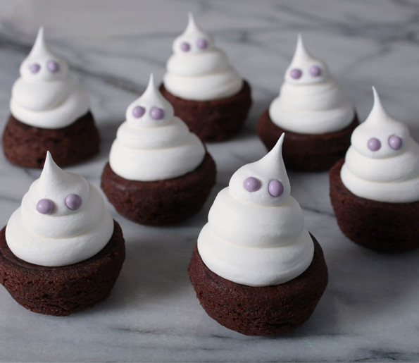 Spooky and cute two-bite brownie ghost recipe